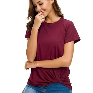 Tops - Wine Red Twist Knot Top